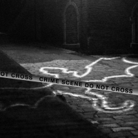 A crime scene photo with the outline of a dragon